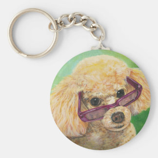 Apricot Poodle in Shades Portrait Original Keychain