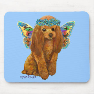 Apricot Red Poodle Fairy Mouse Pad