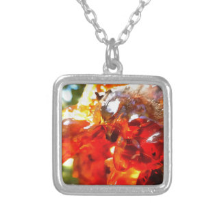 Apricot Resin Abstract Silver Plated Necklace