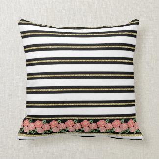 Apricot Roses, Black, White, Gold Stripes Cushion