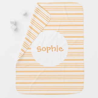 Apricot striped baby blanket personalize name