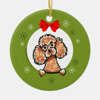 Apricot Toy Poodle Christmas Classic Ceramic Ornament