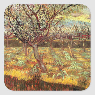 Apricot Trees in Blossom, Vincent van Gogh.  Vinta Square Sticker