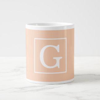 Apricot White Framed Initial Monogram Jumbo Mug