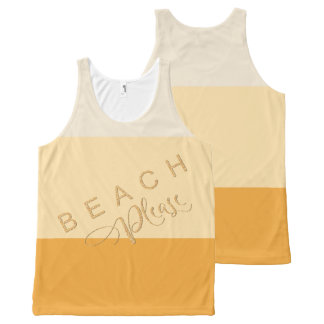 Apricot Yellow Stripes - Beach Please Gold Glitter All-Over-Print Tank Top