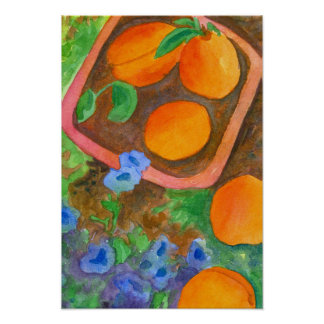 Apricots Royal Watercolor Wildflowers Still Life Poster