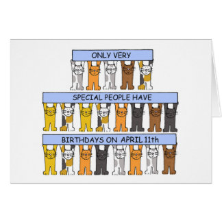 April 11th Birthday Cats Card