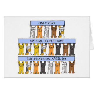 April 1st Birthday Cats Card