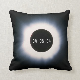 April 2024 Total Solar Eclipse in Black and White Throw Pillow