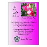 April Birthday Card - Sweet Pea and Diamond