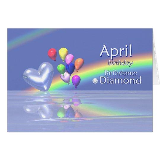 April Birthday Diamond Heart Card