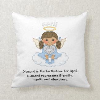 April Birthstone Angel Brunette Throw Pillow