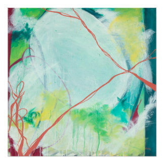 April - blue, coral, abstract expressionism art poster