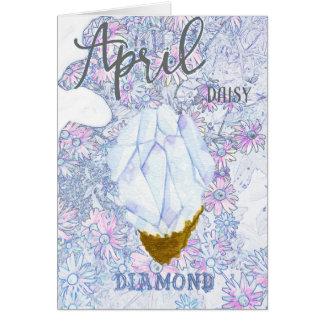 April Daisy and Diamond Birthday Card