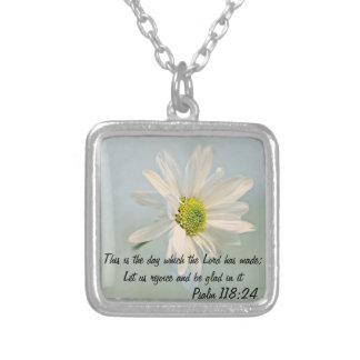 April daisy flower w/ bible verse necklace