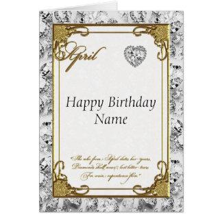 April Diamond Birthstone Birthday Card
