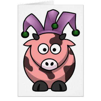 April Fool's Cow Jester Card