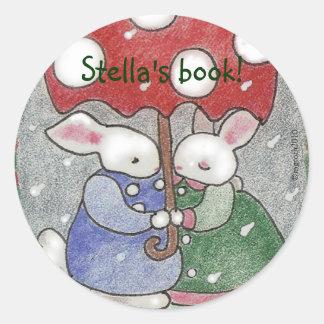 April showers bunny bookplate classic round sticker