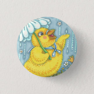 APRIL SHOWERS SPRING CHICK, EASTER BUTTON Round