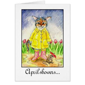 April Showers wet cat in rainstorm card