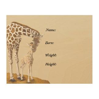 April The Giraffe Birth Announcement Plaque Wood Wall Art
