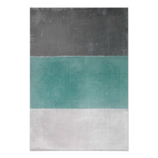 'April' Turquoise and Grey Abstract Art Poster