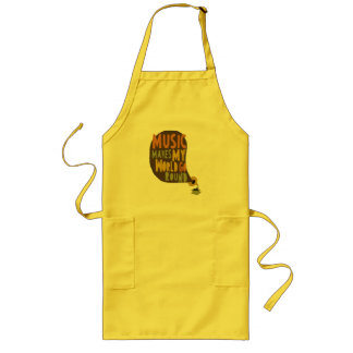 "Apron ""Music makes my world go round """