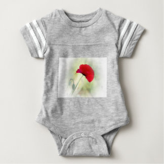 "Apron with red poppy ""Be happy!"" Baby Bodysuit"