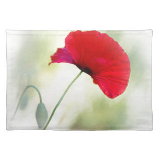 """Apron with red poppy """"Be happy!"""" Placemat"""