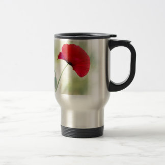 "Apron with red poppy ""Be happy!"" Travel Mug"