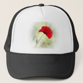 "Apron with red poppy ""Be happy!"" Trucker Hat"