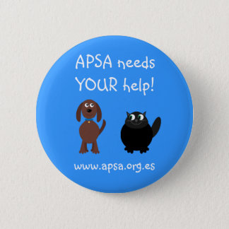 APSA Animal Protection Charity Cartoon Dog & Cat 2 Inch Round Button
