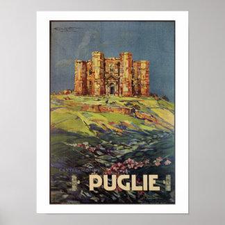 Apulia Castle del Monte vintage Italian travel ad Poster