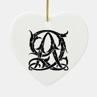AQ-QA Black Monogram Ceramic Heart Ornament