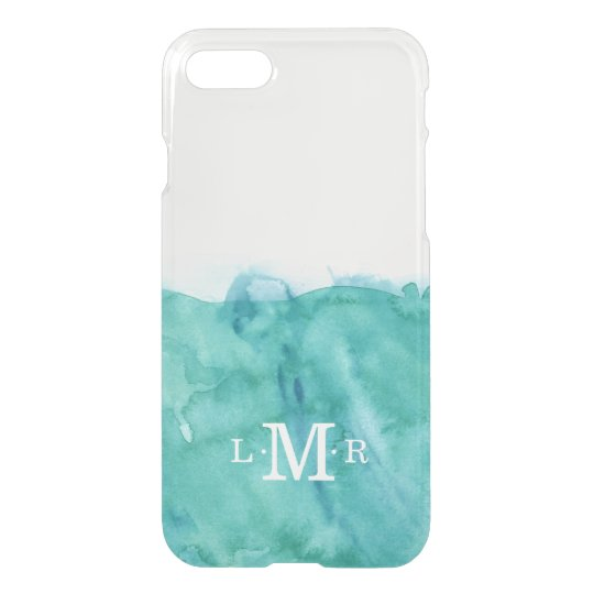 Aqua 3 Letter Monogram Watercolor iPhone 7 Case