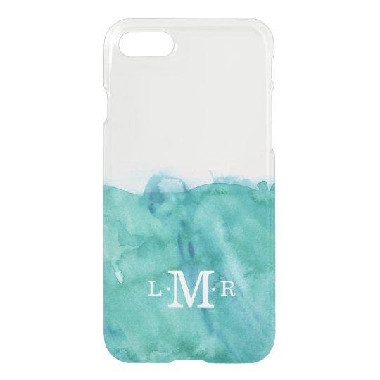 Aqua 3 Letter Monogram Watercolor iPhone 8/7 Case