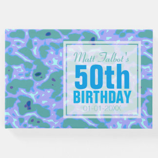 Aqua Abstract 50th Birthday Guest Book