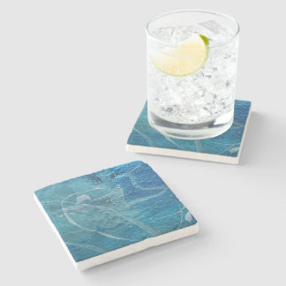 Aqua Abstract Stone Coaster