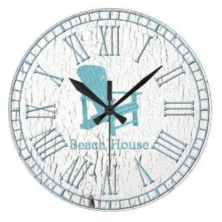 Aqua Adirondack Chair Your Text Large Clock