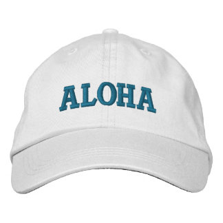 Aqua Aloha Embroidered Hat
