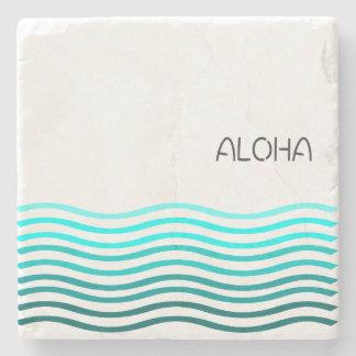 Aqua Aloha Waves Stone Coaster