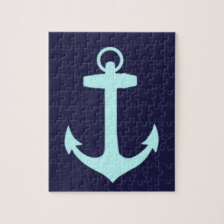 Aqua Anchor on Navy Blue Background. Jigsaw Puzzle
