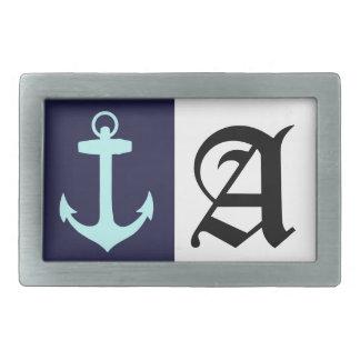 Aqua Anchor on Navy Blue Background. Rectangular Belt Buckle