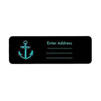 Aqua Anchor Sticker labels Lighthouse Route