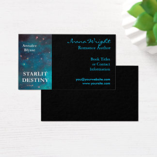 Aqua and Black Book Cover Author Business Card