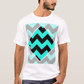 Aqua and Black Chevron T-Shirt