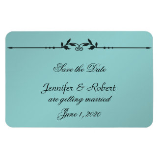 Aqua and Black Elegant Wedding Save the Date Rectangular Photo Magnet
