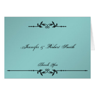 Aqua and Black Elegant Wedding Thank You Card