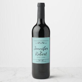 Aqua and Black Elegant Wine Label