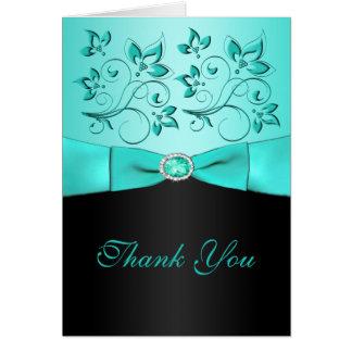 Aqua and Black Floral II Thank You Card